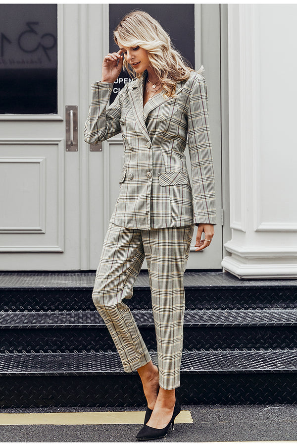Long sleeve Simple Plaid Double Breasted Women Blazer Suit Set