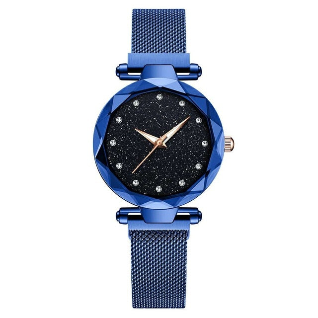 Magnetic Starry Sky Clock Fashion Diamond Female Quartz Wristwatches