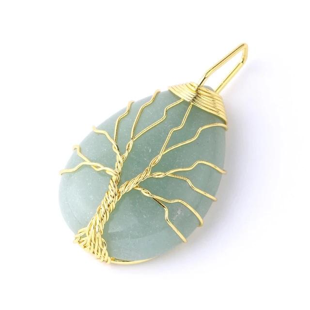 Tree of Life Necklace Pendant Wire Wrap Natural Stone Gem Pink Quartz