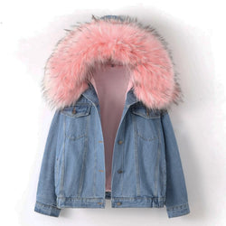 Warm Bomber Women Winter Hooded Denim Jackets