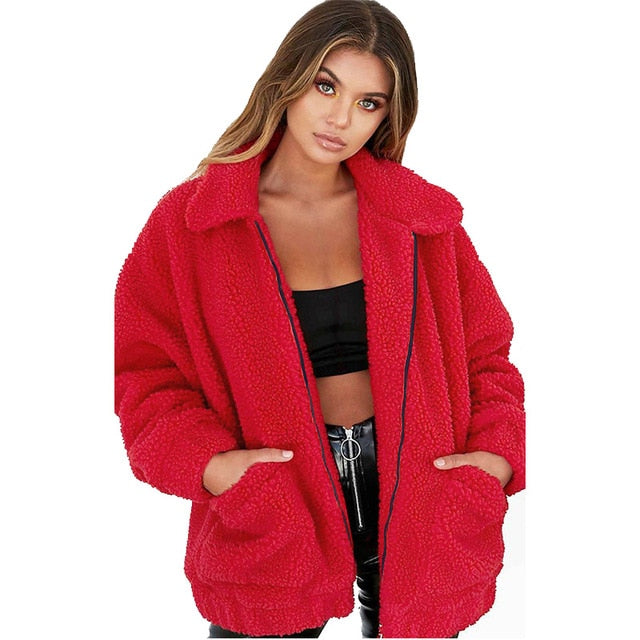 Korean Style Plus Size Women Teddy Fur Coat Casual Jacket