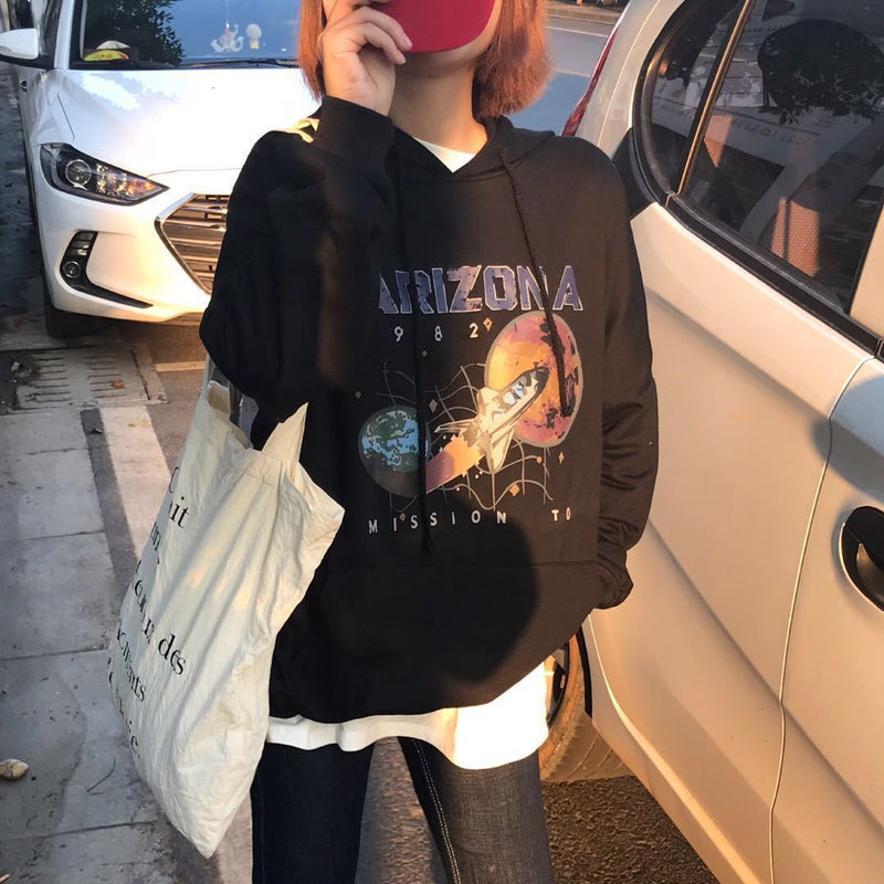 O-neck Women Loose Restore Star Airship Printing Hoodies