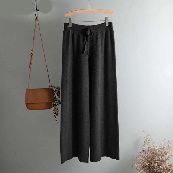 Knitted Wide Leg Casual Trousers
