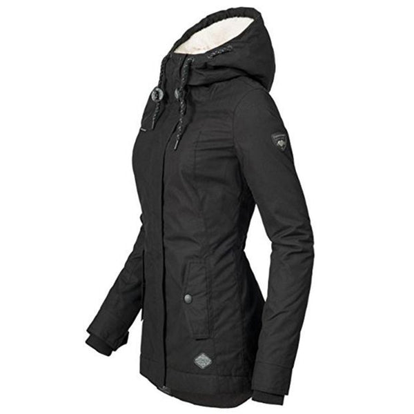 High Street Slim Winter Warm Thicken Women Casual Hooded Jacket