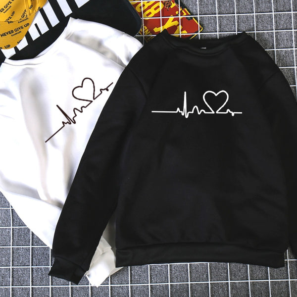 Winter Loose Thick Knit Harajuku Love Printed Sweatshirt