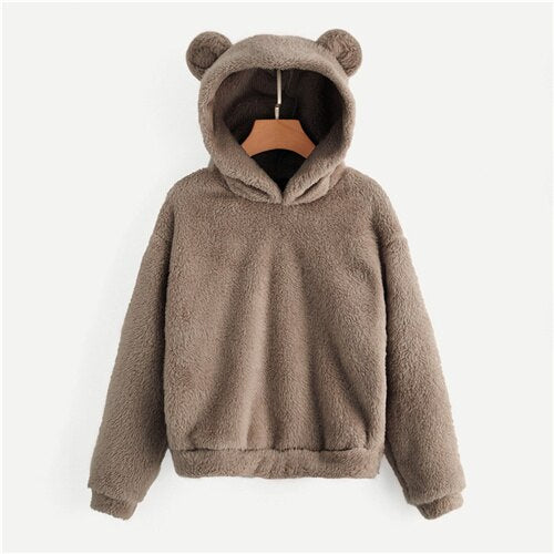 Preppy Lovely With Bears Ears Solid Teddy Hoodie