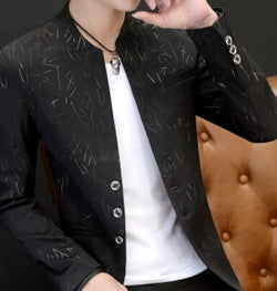 Youth Handsome Trend Slim Print Casual Collar Blazers