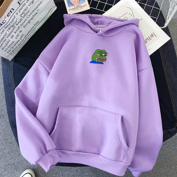 Hip Hop Sad Tearing Frog Print Hoodies