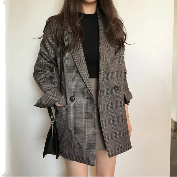 Long Sleeve Causual Vintage Coat Plaid Blazer