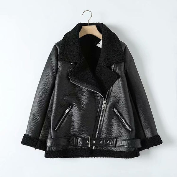 Fur Faux Leather Turn Down Collar Jacket