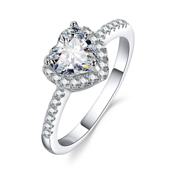 Fashion Crystal Heart Shaped Wedding Rings