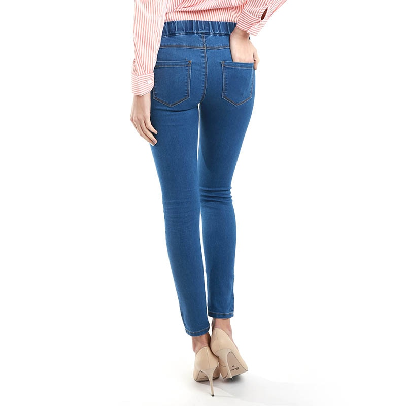 Autumn Winter Minimalist Women Denim Skinny Stretch Jeans