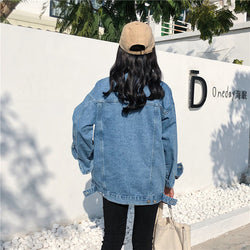 Turn-down Collar Loose Casual Blue Fashionable Women Jacket