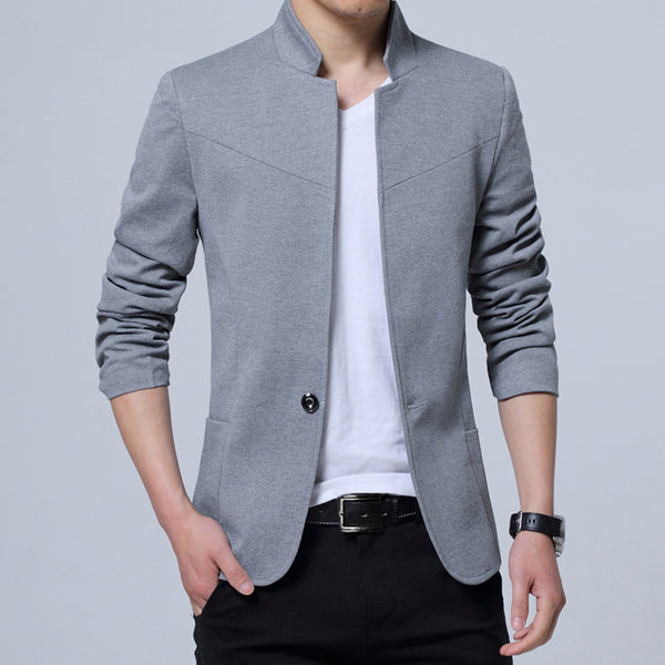 Stand Collar Slim Fit Mens Blazer