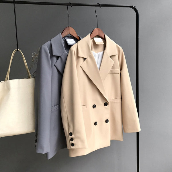 Double Breasted Cotton Chic Long  Suit Women Blazer