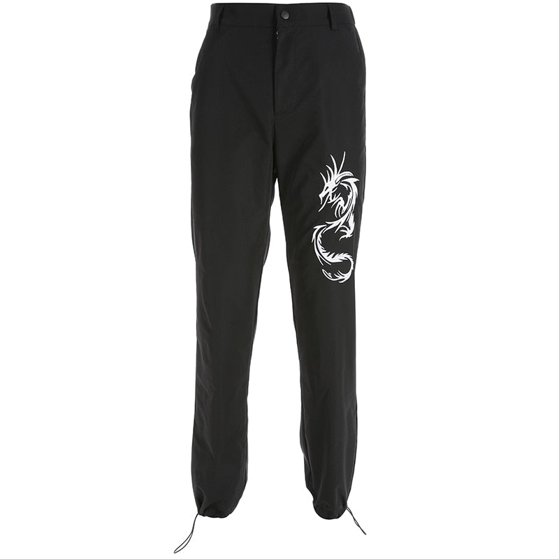 Embroidery Cargo Women Black High Waist Pocket Sweatpants