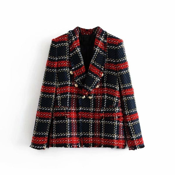 Double Breasted Frayed Checked Tweed Blazers