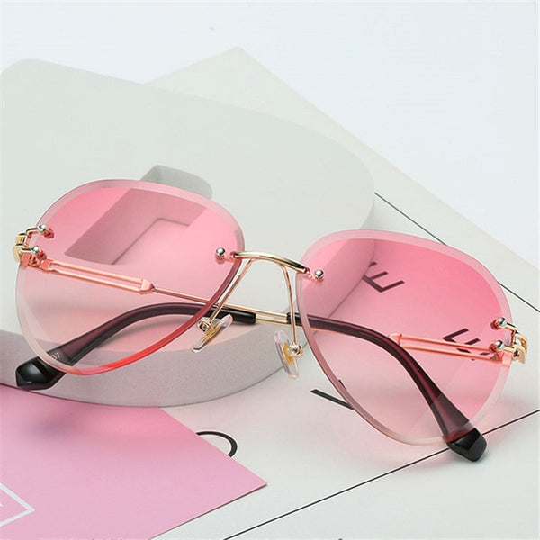 Gradient Shades Cutting Lens Rimless Metal Eyeglasses