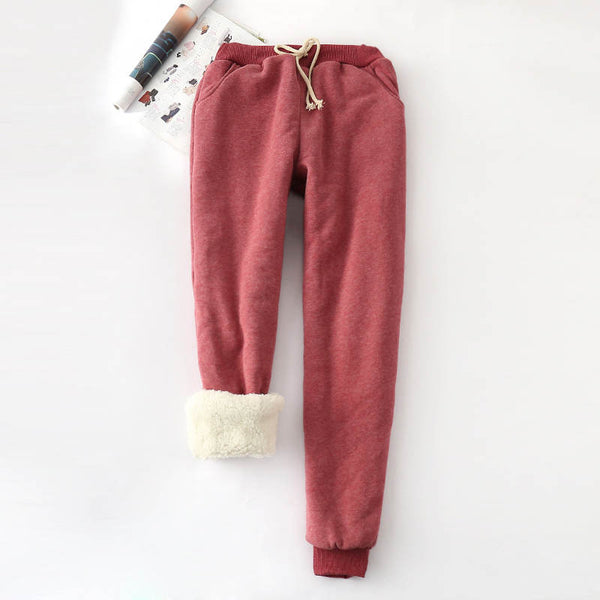 Lambskin Cashmere Pants Women Loose Trousers