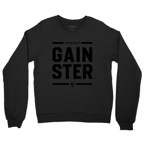 Unisex Straight GAINSTER Crew Neck Sweatshirt - Black with Black Print