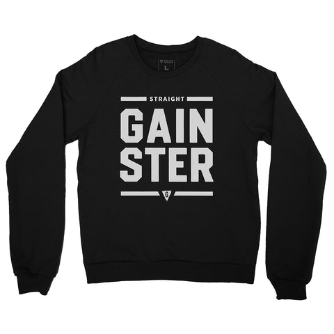 Unisex Straight GAINSTER Crew Neck Sweatshirt - Black with Light Gray Print