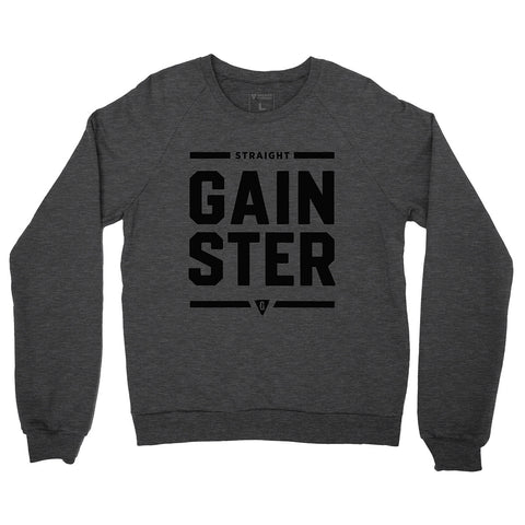 Unisex Straight GAINSTER Crew Neck Sweatshirt - Heather Gray with Black Print