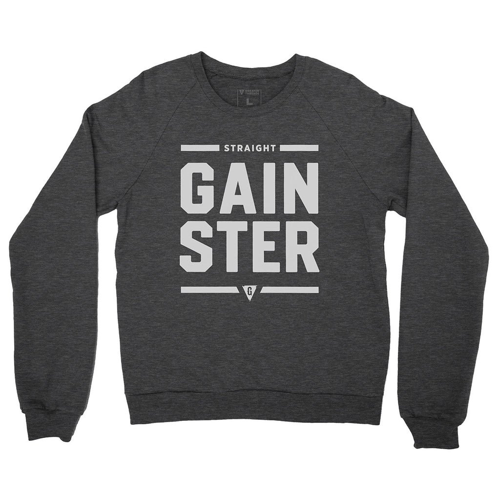 Unisex Straight GAINSTER Crew Neck Sweatshirt - Heather Gray with Light Gray Print
