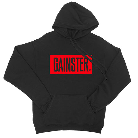 Men's GAINSTER Block Fleece Pullover Hood - Black with Red Print