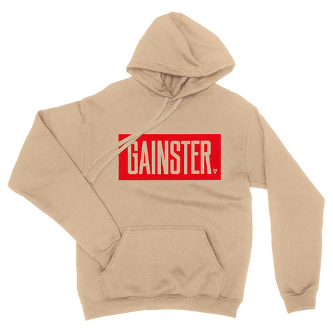 Men's GAINSTER Block Fleece Pullover Hood - Tan with Red Print