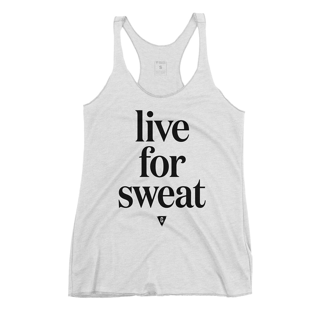 Women's Live for Sweat Tank Top - Athletic White with Black Print