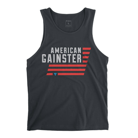 Men's American GAINSTER Tank Top - Dark Grey with Red White and Blue Print.