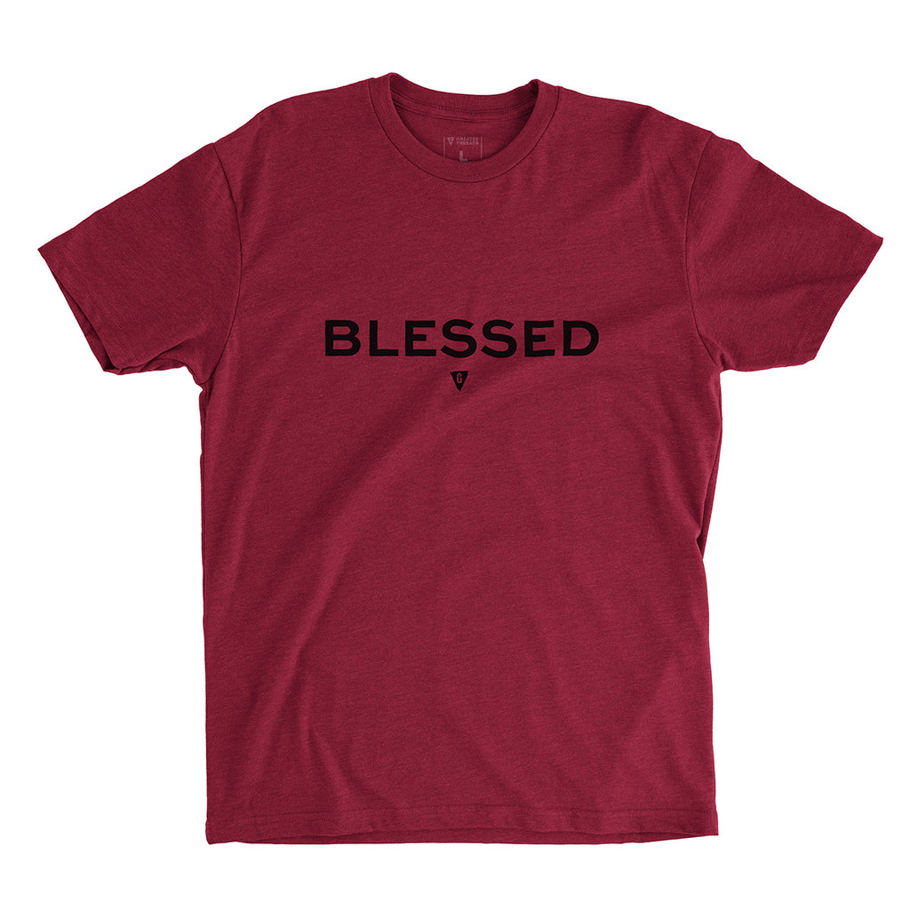 Men's Blessed T-shirt - Cardinal red premium fitted crew with black print