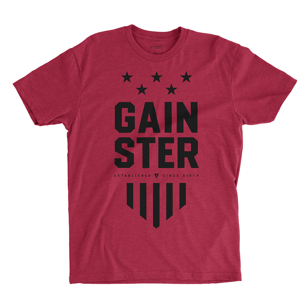 GAINSTER Stars and Stripes T-shirt - Vintage red premium fitted crew with black print
