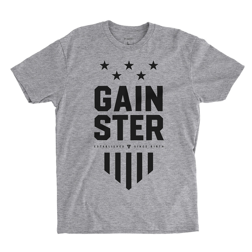 GAINSTER Stars and Stripes T-shirt - Heather gray premium fitted crew with black print
