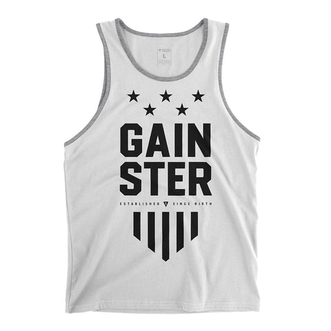 Men's GAINSTER Stars and Stripes Tank Top - White premium fitted tank with black print