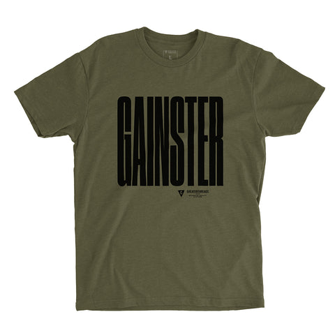 GAINSTER Stretch T-shirt – Army Green with Black Print