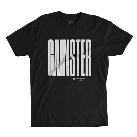 GAINSTER Stretch T-shirt – Black with White Print