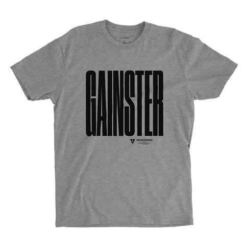GAINSTER Stretch T-shirt – Heather Gray with Black Print