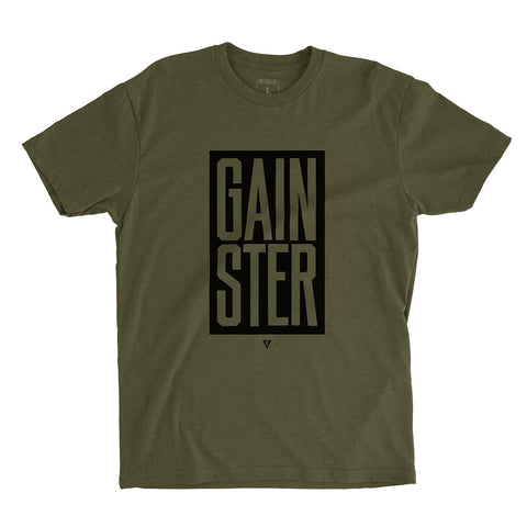 Men's Stacked GAINSTER Block T-shirt – Army Green with Black Print