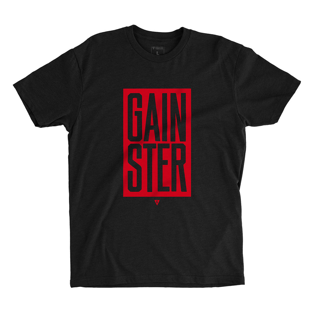 Men's Stacked GAINSTER Block T-shirt – Black with Red Print