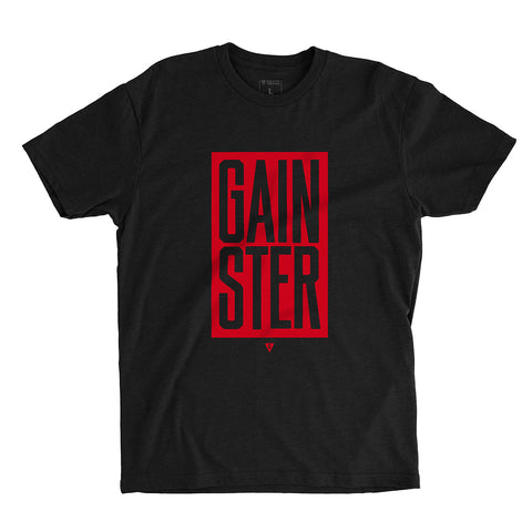 Stacked GAINSTER Block T-shirt – Black with Red Print
