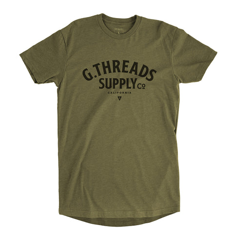 Men's G.Threads Long Body T-shirt - Army green premium fitted crew with black print