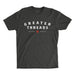 Men's Greater Threads Shirt – Charcoal premium fitted crew with light gray and red logo print.