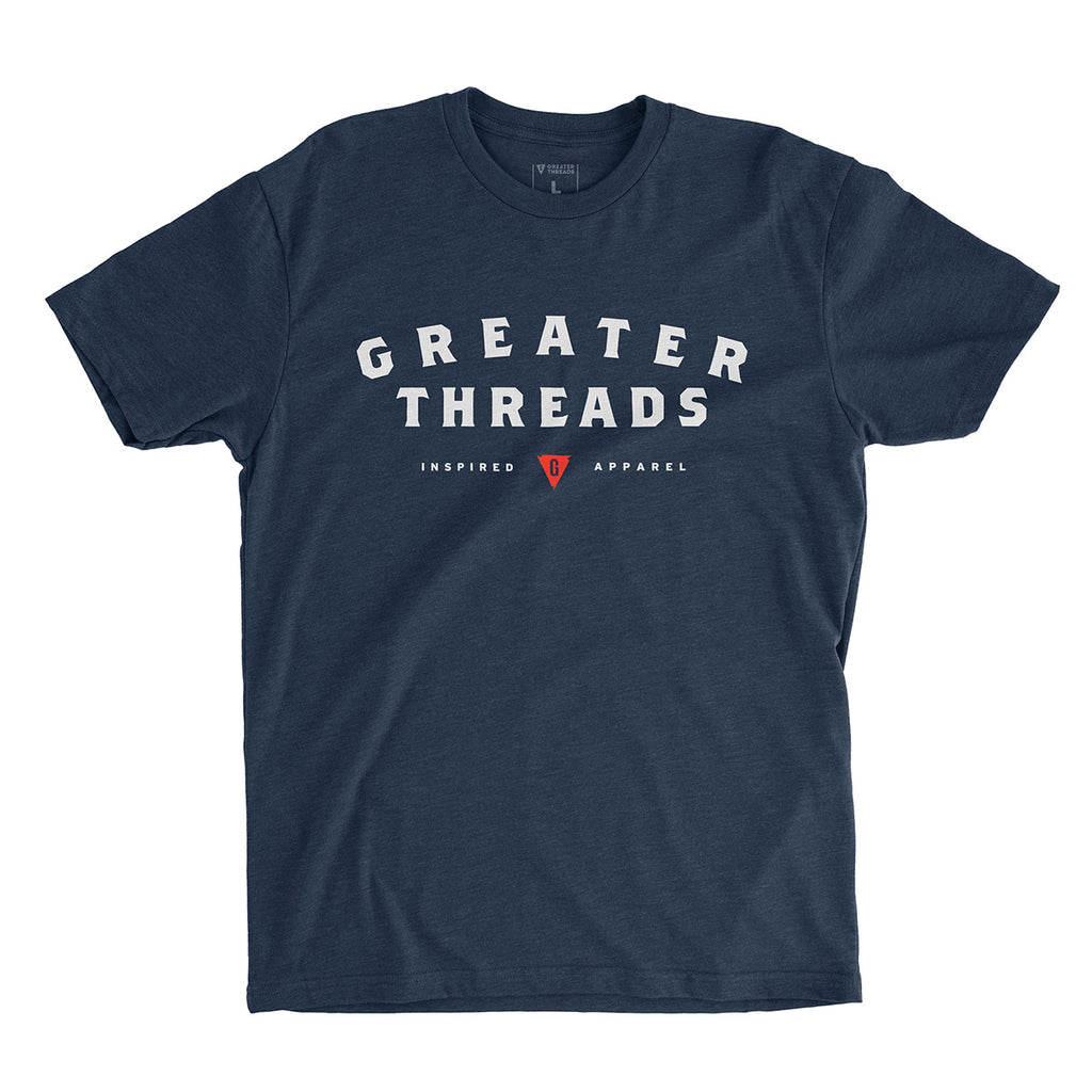 Men's Greater Threads Shirt – Navy premium fitted crew with light gray and red logo print.