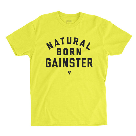 Men's Natural Born GAINSTER Shirt – Neon yellow premium fitted crew with black print.