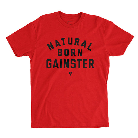 Men's Natural Born GAINSTER Shirt – Vibrant Red premium fitted crew with black print.