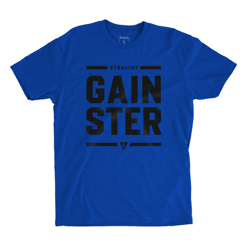 Men's Stacked Straight GAINSTER T-shirt - Royal Blue premium fitted crew with black print