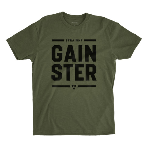 Men's Stacked Straight GAINSTER T-shirt - Army green premium fitted crew with black print