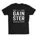 Stacked Straight GAINSTER T-shirt - Black premium fitted crew with white print