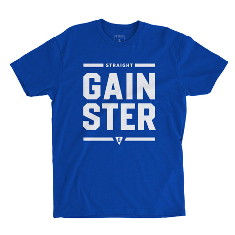Stacked Straight GAINSTER T-shirt - Royal Blue premium fitted crew with white print